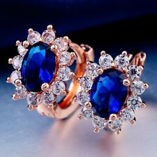 FASHION WEDDING ROSE GOLD Plated Blue Cubic Zircon Classic Hoop Earrings