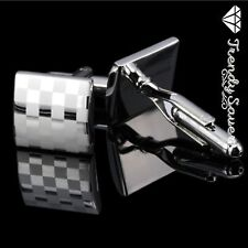 Mens Sterling Silver Plated Square Chess Formal/Wedding Groom Cufflinks #18