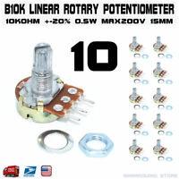10pcs B10K 10K OHM Linear Taper Rotary Potentiometer 15mm Taper Pot Resistor