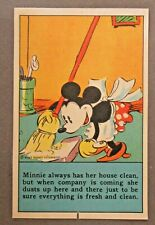 1930's D97 Bamby Bread MICKEY MOUSE RECIPES Minnie Sweeping card