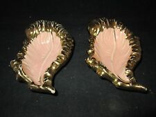 "Leaf Shaped Ceramic Candy Dishes (2) Pink with Gold Border 3"" x 5 3/4"""