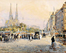 Friedrich Frank Street Scene  France French?   Classic Wall Art  Canvas