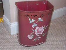 Vintage Detecto Toleware Tole Pierced Top WasteCan Basket Burgundy Roses Daisies