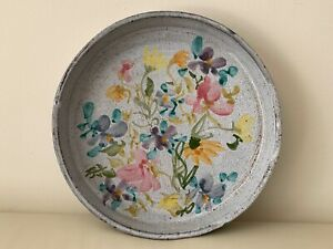 Mid Century French Vallauris Crackle Pottery Floral Serving Tray Bowl