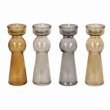Glass Stemmed Tea Light Holders 17cm - Set of 4