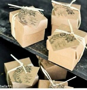 1 x sample vintage floral 'Thank you' rustic wedding favour boxes