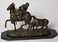 Bronzeskulptur Figur Jäger zu Pferd Bronze Hunter on Horseback