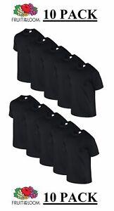 New 10pk BLACK FOTL Mens T Shirt Plain Original 100% Cotton Blank Tee Bulk Buy