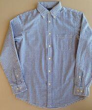 Mens LANDS END Seersucker Longsleeve Shirt BLUE Gingham Checks SMALL (34-36) Reg