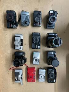 Lot of 14 Point & Shoot Bridge Film Camera, Canon Olympus Mamiya *For Parts*