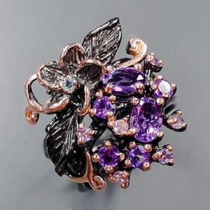 Fine Art SET Amethyst Ring Silver 925 Sterling  Size 6.75 /R160174