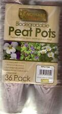 Kingfisher Biodegradable Peat Pots, Seedling Pots, Gardening  - 36 Pack - Round