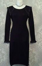 LIPSY SIZE 10 - 12 BLACK & SILVER KNITTED BODYCON JUMPER DRESS @ NEXT £60 7388