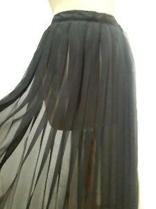 N53 Jupe maxi plissée mousseline Edith B T.42 Long muslin pleated skirt sz L
