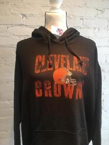 Cleveland Browns 2X Women's Plus Size Distressed Logo Fleece Pullover Hoodie