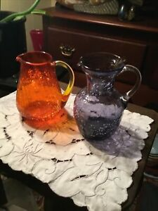 SET OF TWO HAND BLOWN CRACKLE GLASS PITCHERS - ORANGE, LAVENDER