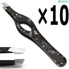 10× Beauty Tools Makeup Eyebrow Black Tweezers Hair Remover Slanted Tip