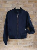 FAB Navy Blue Size 12 Padded TOPSHOP Zip-Up Casual Bomber Jacket w Silky Lining