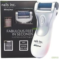 Nails Inc Electronic Foot File Kit - Powered by MICRO Pedi with 2 Nail Polishes
