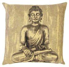 "NEW 18"" BUDDHA SITTING TAPESTRY CUSHION COVER 4985, BEAUTIFUL QUALITY GIFT IDEA"