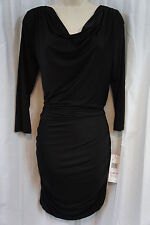 Nine West Dress Sz 6 Solid Black 3/4 Sleeves Ruched Stretch Cocktail Jersey Dres