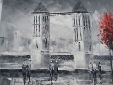 small London oil painting canvas art modern contemporary England black white red