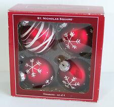 St Nicholas Square 4 Glass Christmas Tree Ornaments Red Snowflake Swirl
