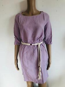 REKEN MAAR - lockeres  Kleid mit Kordel lila Gürtel - NEU Gr 34 XS 1086j