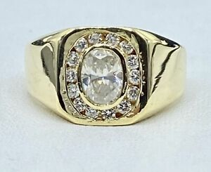 1.15 ct NATURAL oval DIAMOND mens square pinky ring  14K yellow GOLD (SEE VIDEO)
