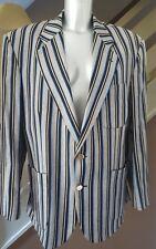 Original Vintage Joliffe canotaje Blazer Chaqueta Tamaño De rayas Gris Azul Negro 42S