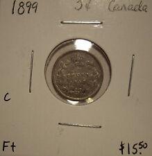 C Canada Victoria 1899 Silver Five Cents - F +