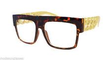 RETRO Gold Chain Rapper Square Frame Trendy Clear Lens Eye Glasses TORTOISE