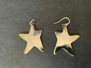 RLM Robert Lee Morris sterling silver Andy Warhol star shape dangle earrings EUC