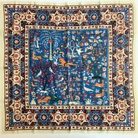 Vtg MET Metropolitan Museum of Art Indian Animal & Tree 100% Wool Challis Scarf