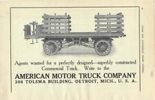 Beautiful 1910 American Motor Truck Co 2 page Ad/Detroit MI