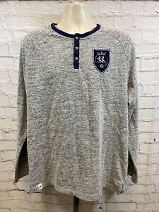 Adidas Real Salt Lake MLS Soocer 3 Button Gray Pullover Sweatshirt Men's Size XL