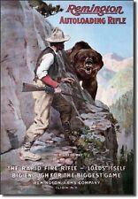 Remington Right of Way Bear Hunting Rifle Distressed Retro Vintage Tin Sign New