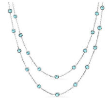14K White Gold Necklace With Round Shape Blue Topaz Gemstones 36 Inches