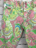 Lilly Pulitzer Worth Skinny Mini Ankle Zip Jeans Pink Paisley Chin Chin Size 0