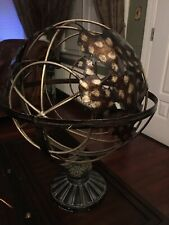 Large 20in tall Metal World Globe Gold Tone Cage Art Decor