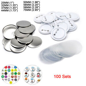100 Sets Badge Supplies Parts 1''-2.95'' 25mm-75mm For DIY Button Maker Craft
