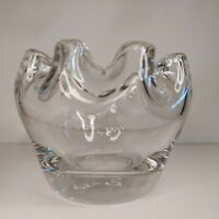 VINTAGE CZECH CLEAR GLASS PINCHED TOP BOWL / VASE