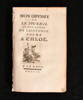 1760 Mon Odyssee ou Le Journal de Mon Retour de Saintonge Poeme A Chloe Scarce