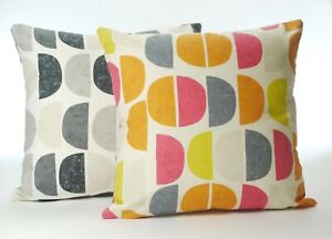 Cotton Cushion Cover Multi or Greys on Natural Reversible
