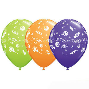 Trick or Treat Candy Latex Balloons, Halloween Classroom Decor Fall Festival 10