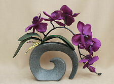 ARTIFICIAL SILK MOTH ORCHID PURPLE WITH LEAVES IN STONE EFFECT FOSSIL VASE