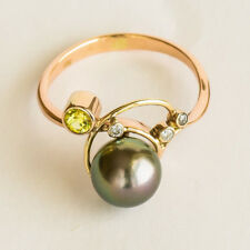 TAHITIAN PEARL RING REAL DIAMONDS YELLOW SAPPHIRE 9K PALE ROSE GOLD SIZE P NEW