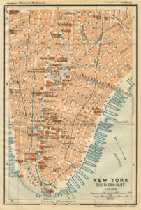 LOWER MANHATTAN Financial District Tribeca Battery Park. NYC City plan 1904 map