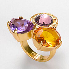 NWT COACH POPPY DAPHNE Multi Stone JEWEL Medallion Gold Cluster Ring SZ 8 NEW