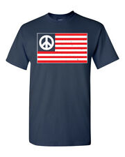 Peace American Flag 2 colors Lets All Get Along Men's Tee Shirt 1694